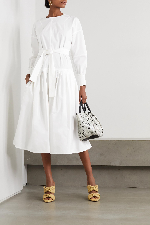 Proenza Schouler Belted pleated stretch-cotton poplin midi dress