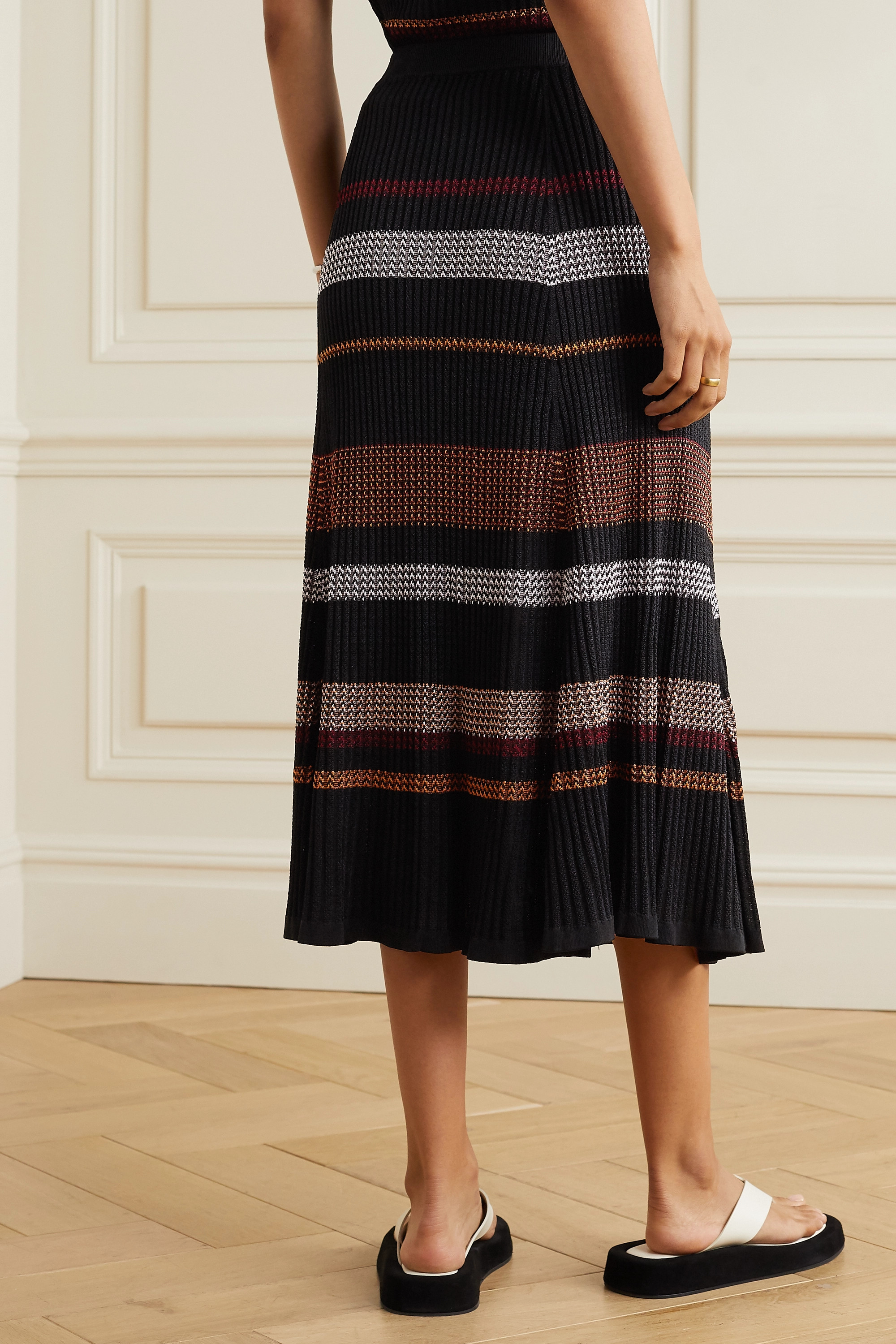 Proenza Schouler Striped ribbed-knit midi skirt