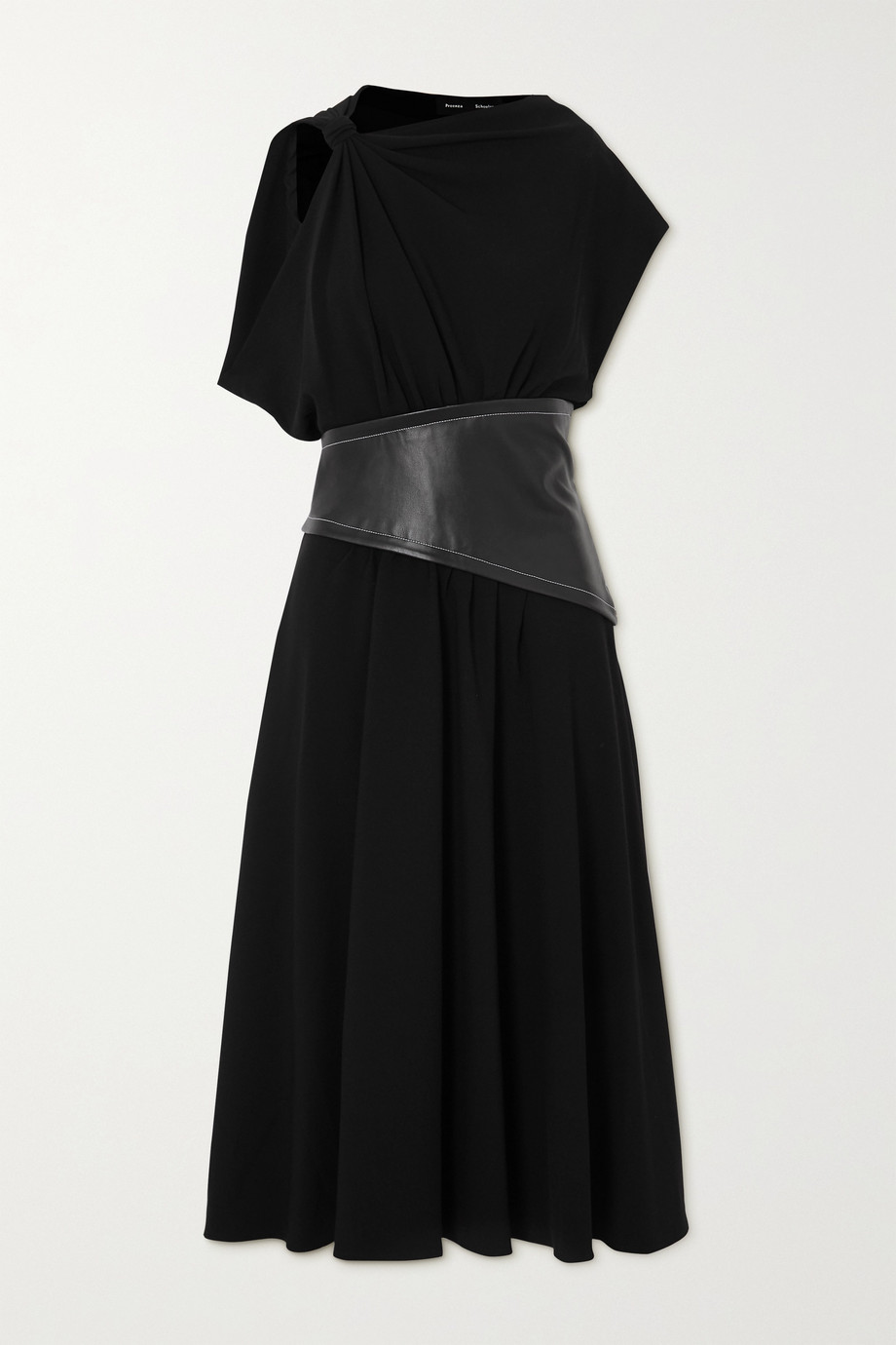Proenza Schouler Draped crepe and leather midi dress