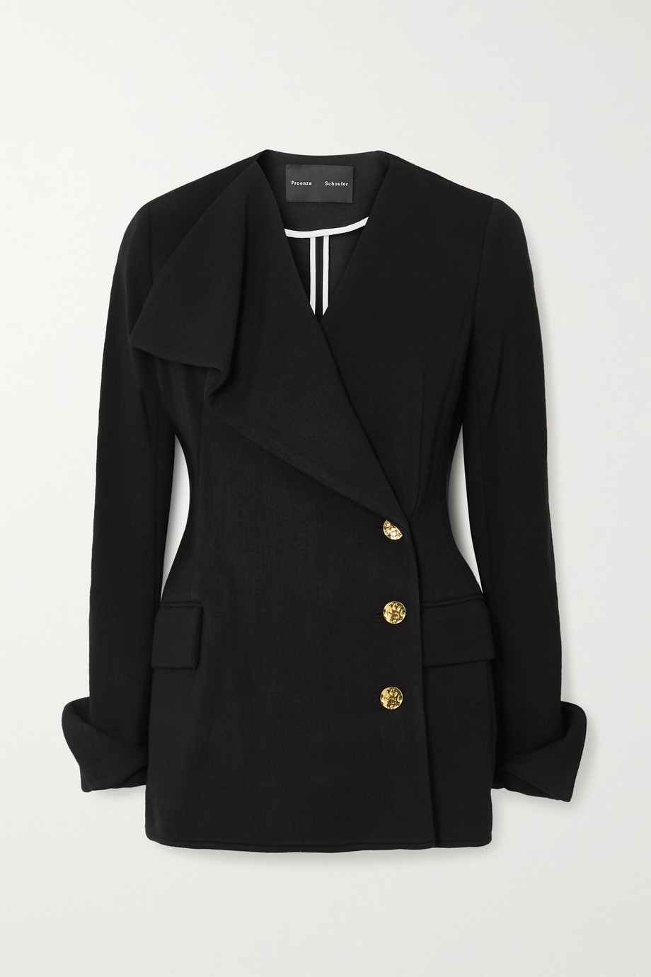 Proenza Schouler Double-breasted draped stretch-jersey blazer
