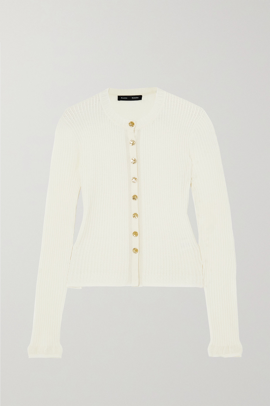 Proenza Schouler Pointelle-trimmed cable-knit merino wool-blend cardigan