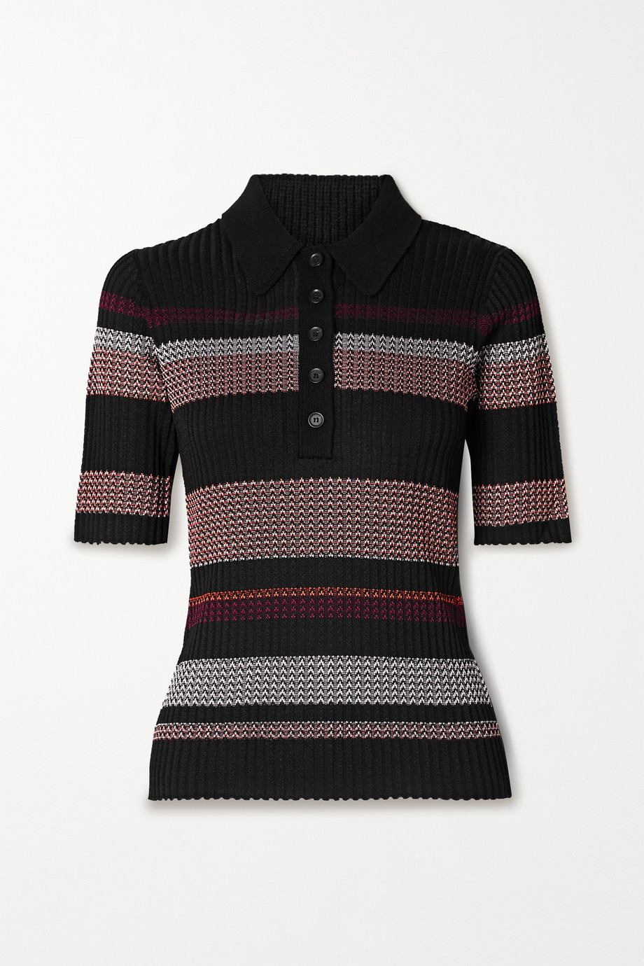 Proenza Schouler Striped ribbed-knit polo shirt