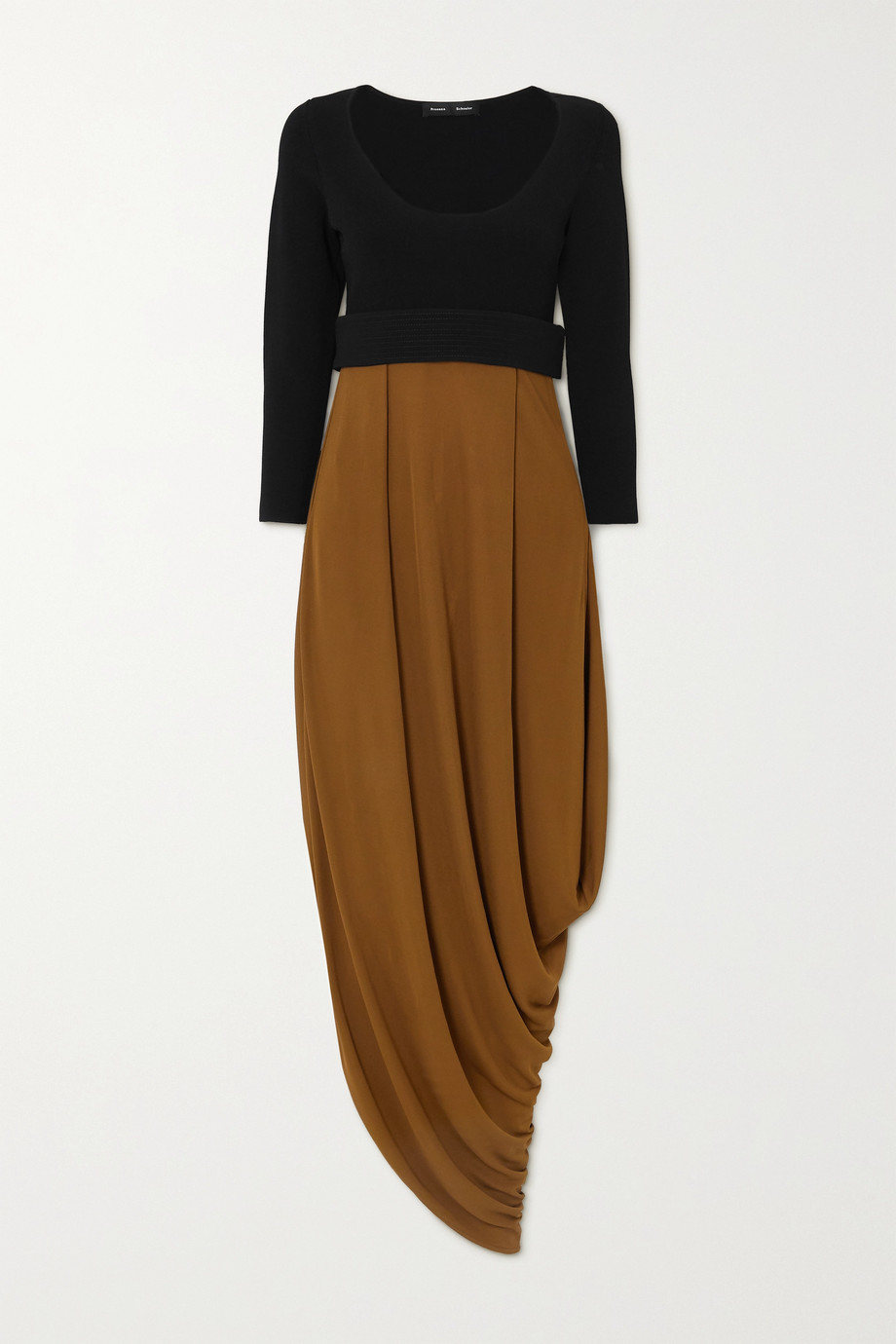 Proenza Schouler Draped two-tone jersey midi dress