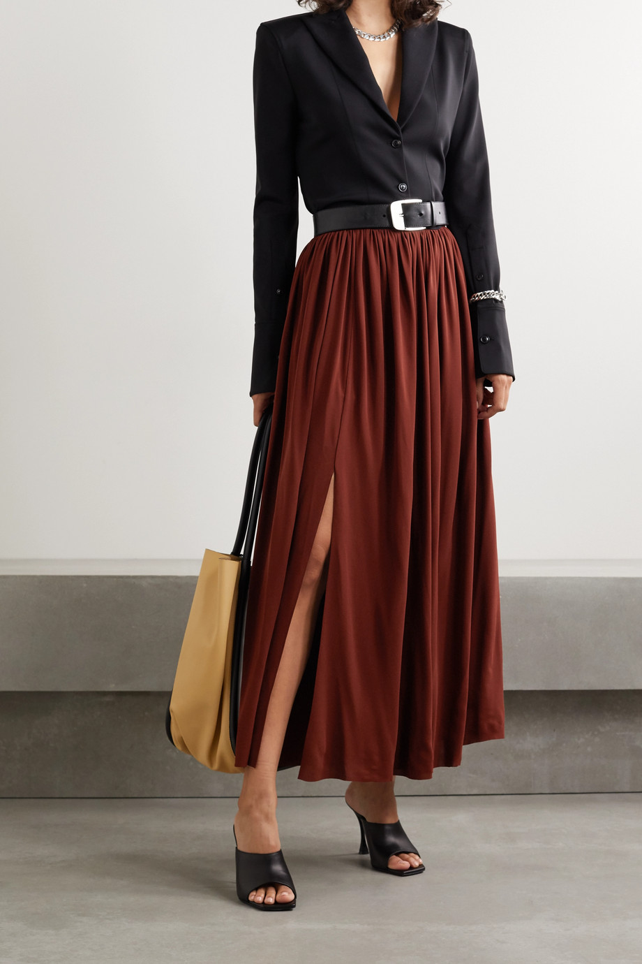 Proenza Schouler Belted pleated jersey maxi skirt