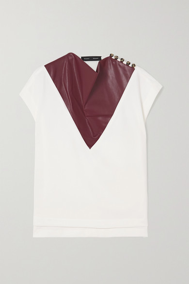 Proenza Schouler DRAPED CREPE AND FAUX LEATHER TOP