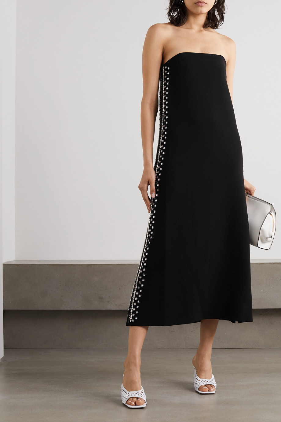 Proenza Schouler Strapless embellished cady midi dress