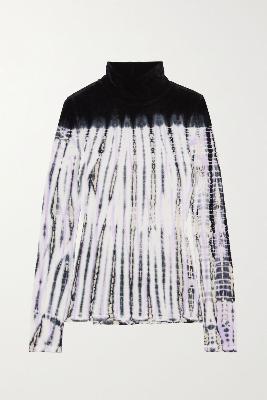 Proenza Schouler Oberteil aus Samt mit Batikmuster und Stehkragen