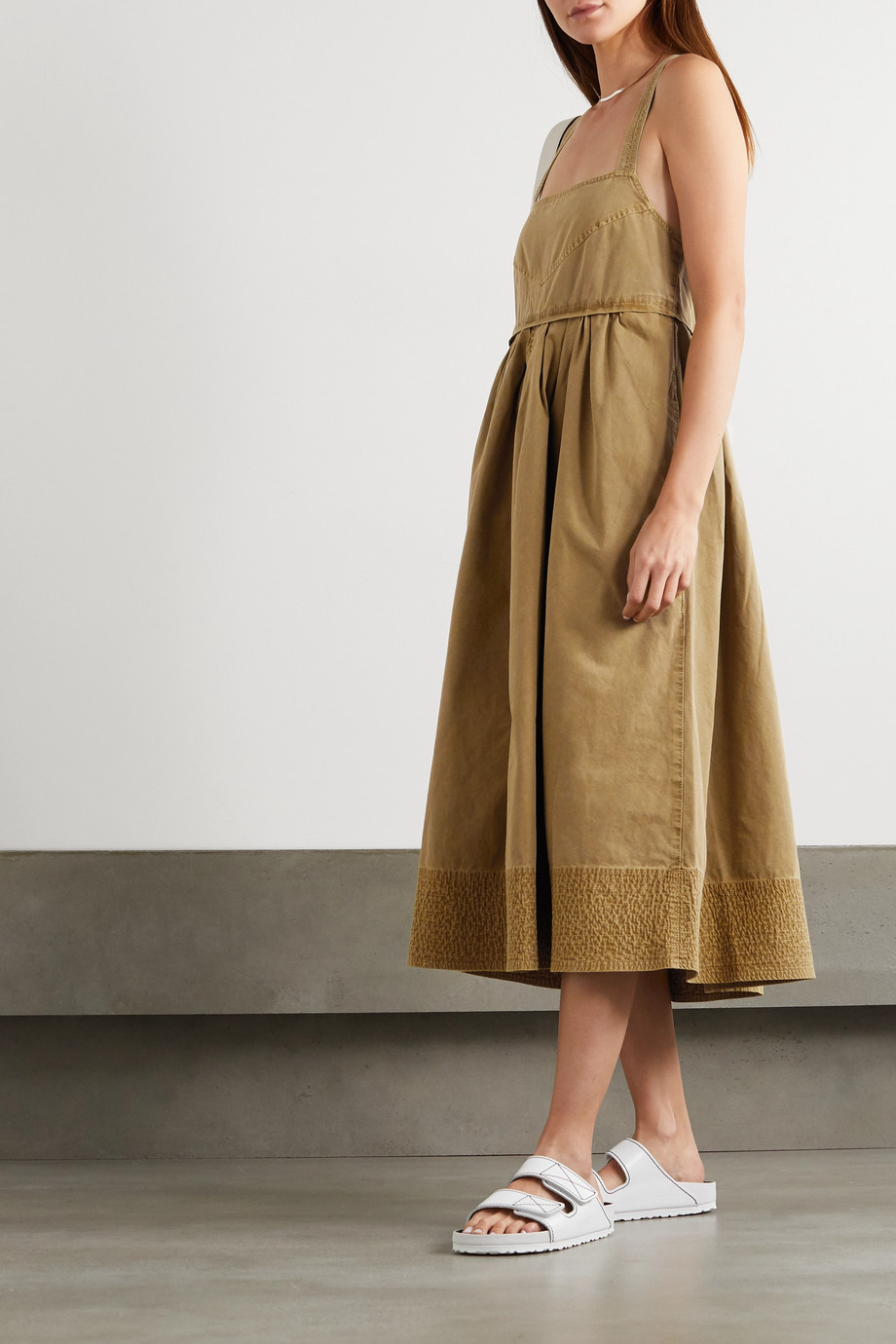 Proenza Schouler White Label Tie-detailed pleated washed cotton-canvas midi dress