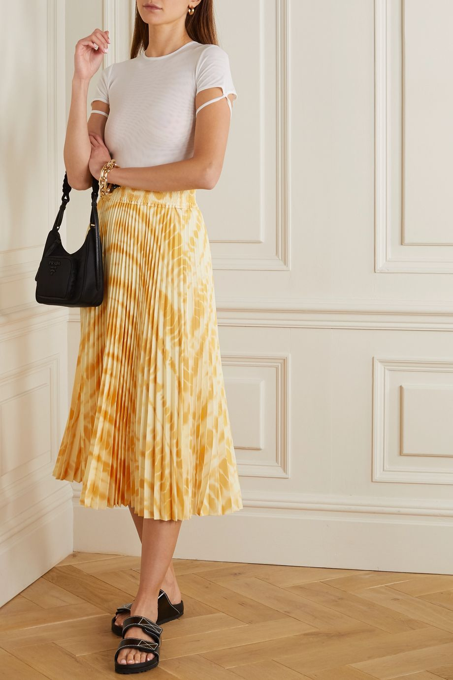 Proenza Schouler White Label Pleated printed crepe midi skirt