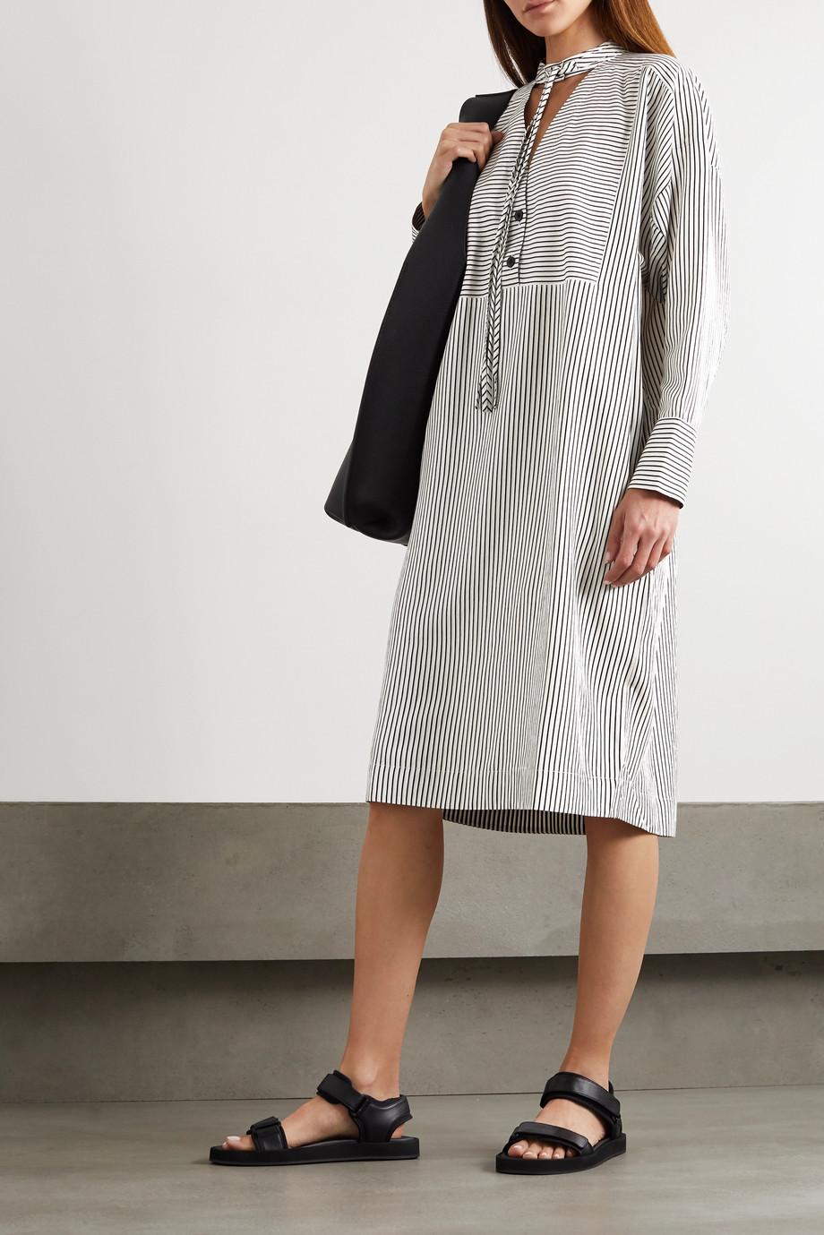 Proenza Schouler White Label 大廓形挖剪条纹绉纱长款上衣