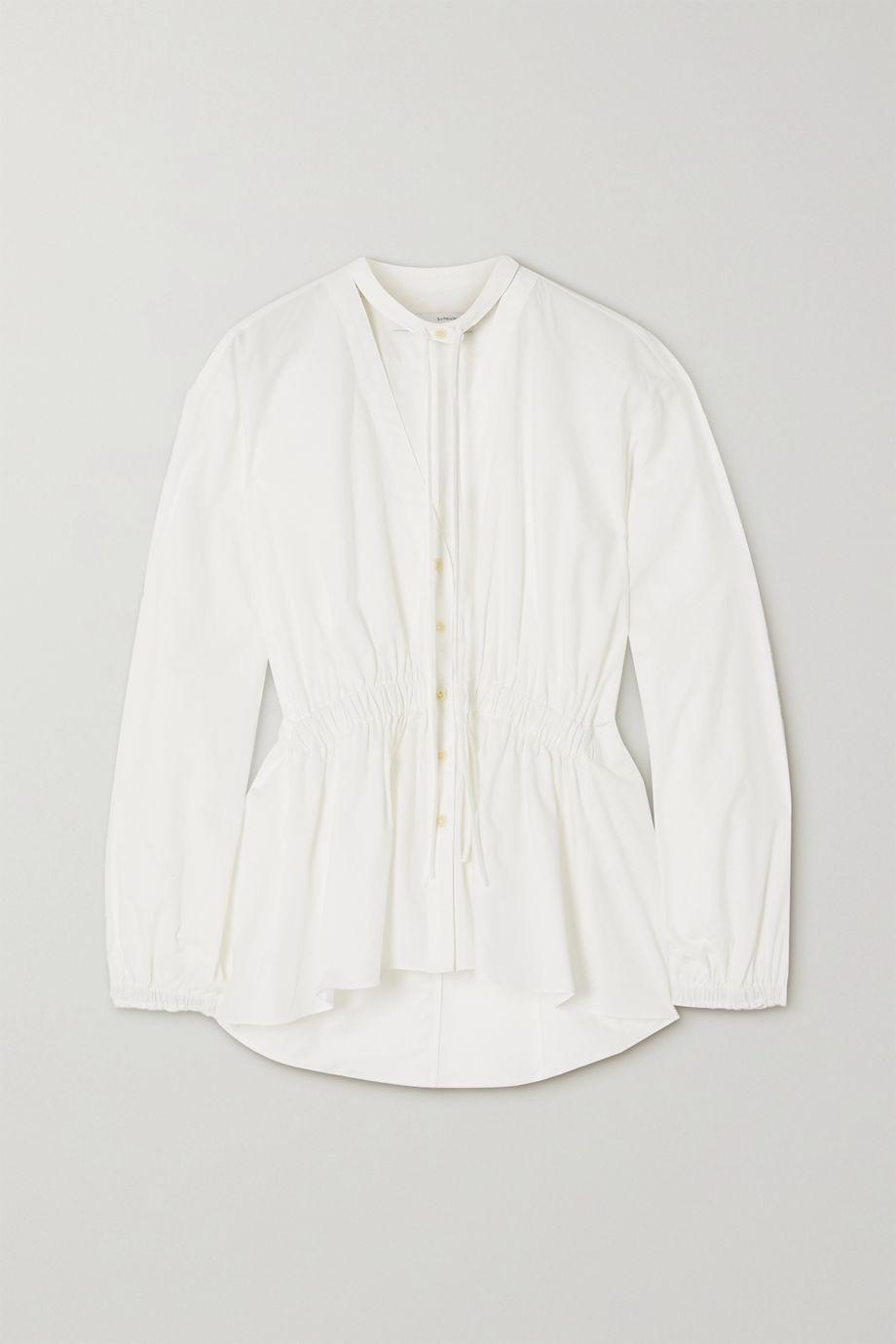 Proenza Schouler White Label Tie-detailed gathered cotton-poplin blouse