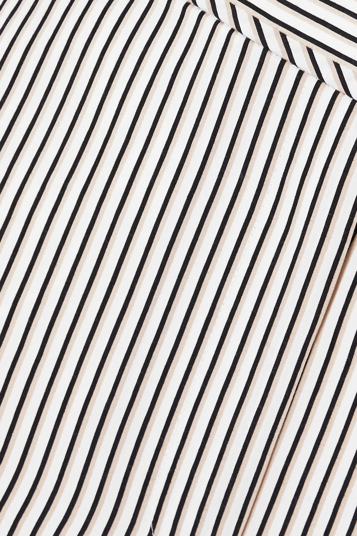 White Striped Crepe Wide-leg Pants   Proenza Schouler Label