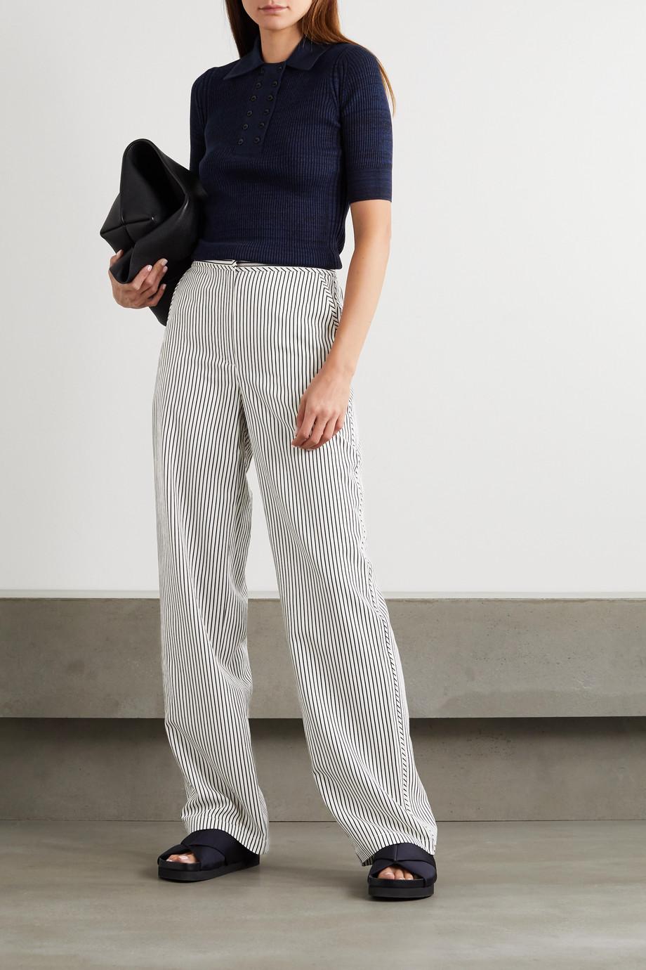 Proenza Schouler White Label 条纹绉纱阔腿裤