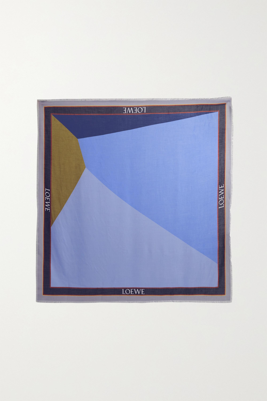 Loewe Foulard en serge de modal et de cachemire mélangés à imprimé Puzzle