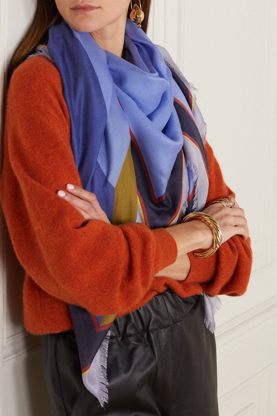 Loewe Puzzle printed modal and cashmere-blend twill scarf