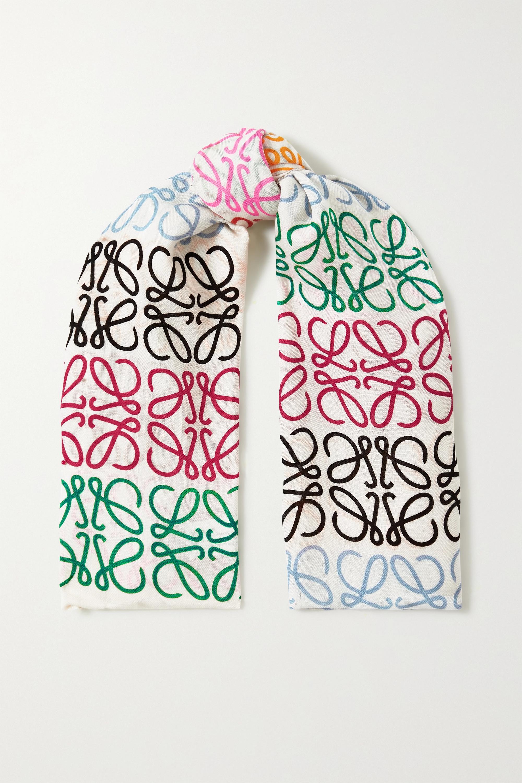 Loewe Foulard en laine, soie et cachemire mélangés imprimés à franges