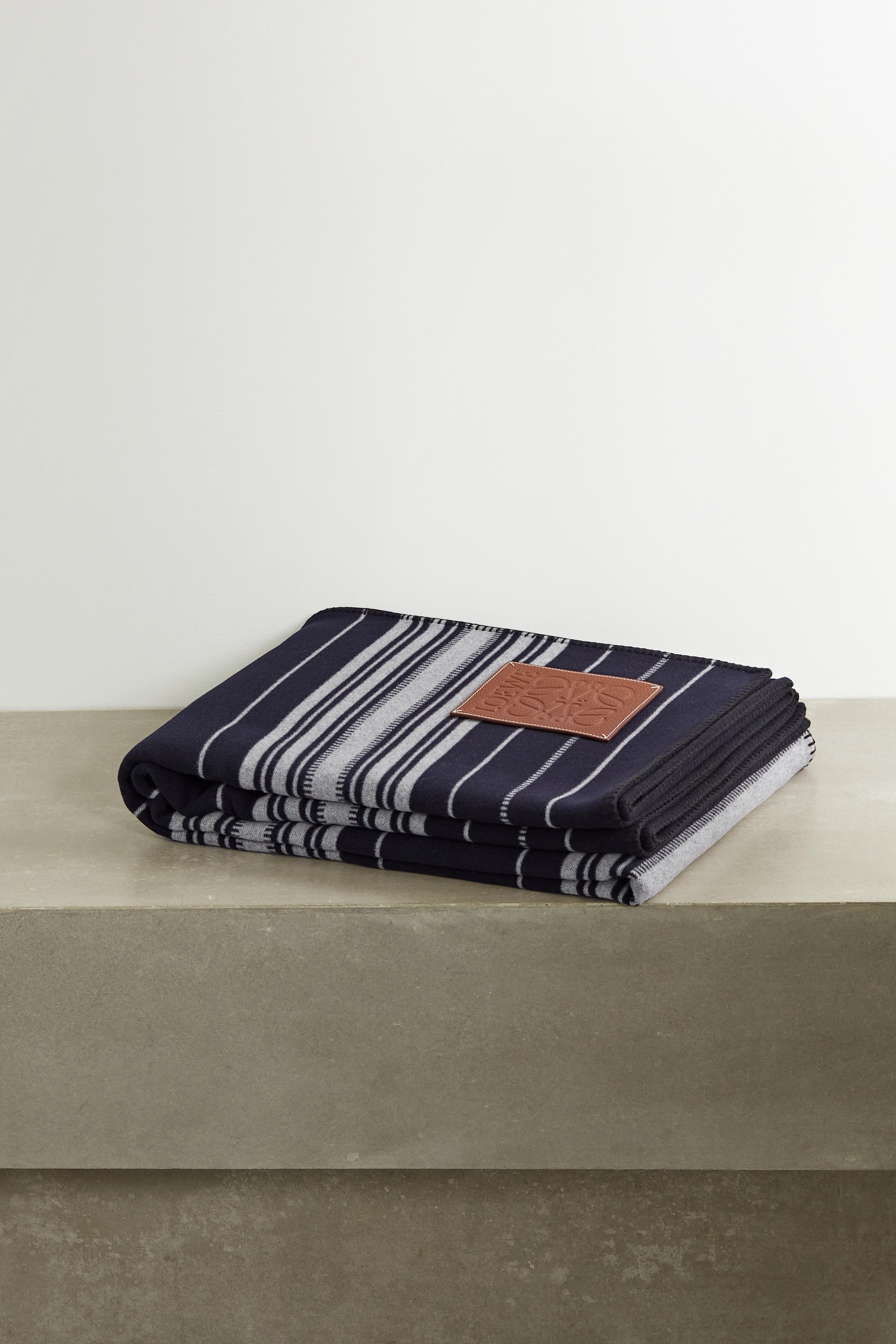 Loewe Leather-trimmed striped wool, cashmere and silk-blend blanket