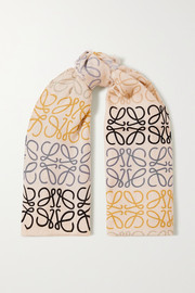 Loewe Fringed printed wool, silk and cashmere-blend scarf