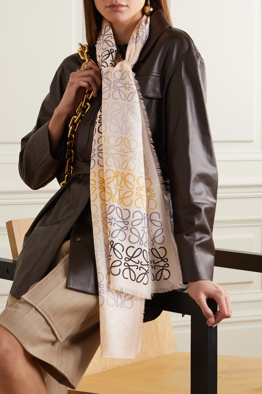 Loewe Fringed printed wool, silk and cashmere-blend scarf