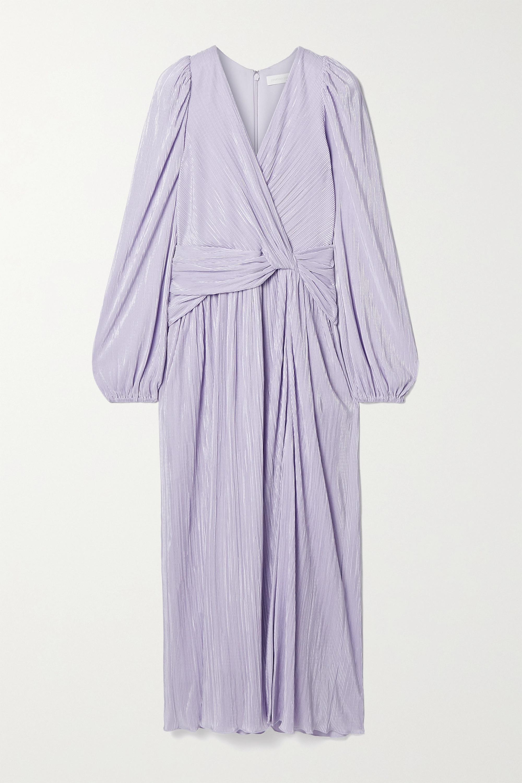 Jonathan Simkhai Gwynne knotted metallic plissé-satin midi dress