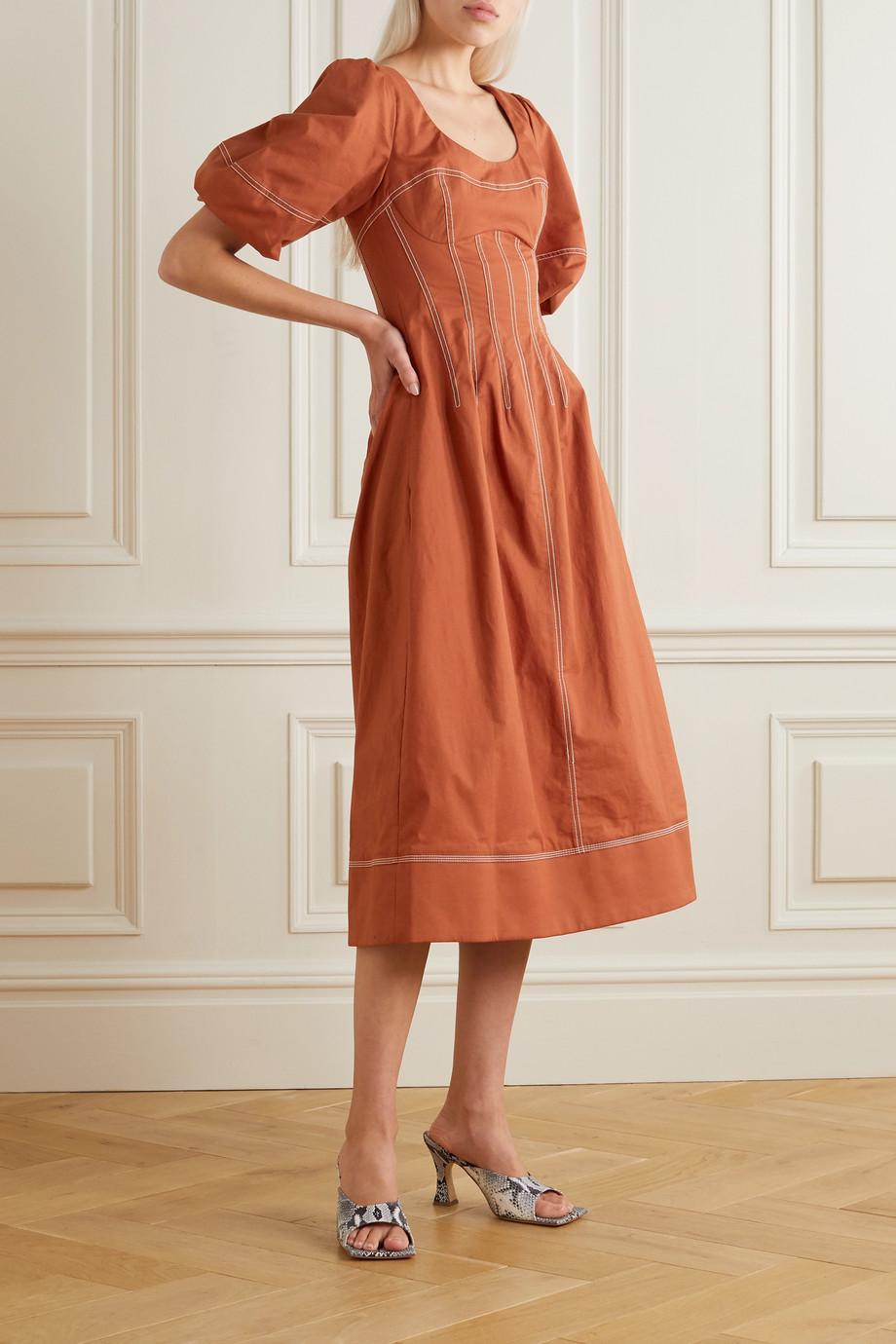 Jonathan Simkhai Lena topstitched cotton-blend midi dress