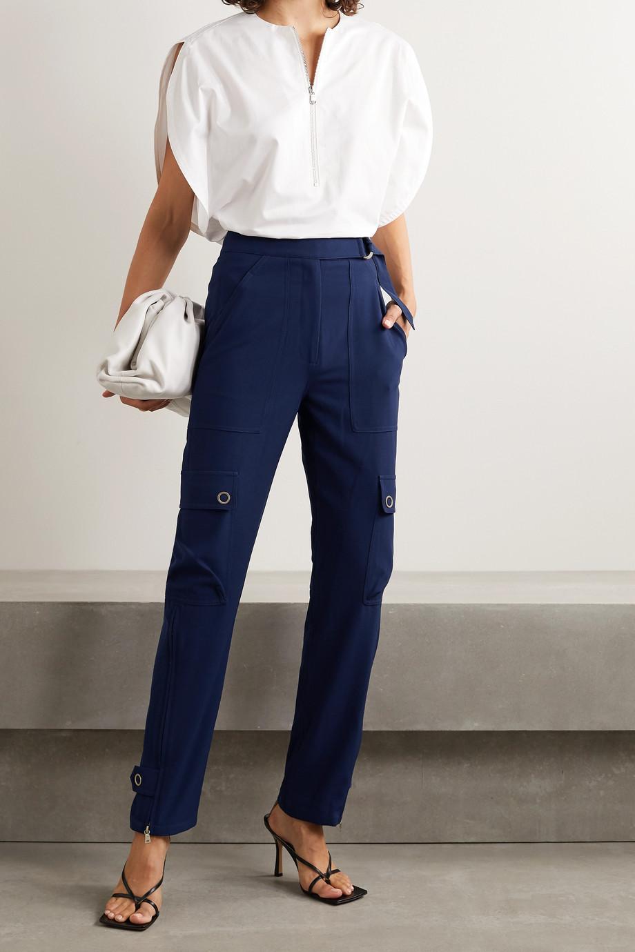 Jonathan Simkhai Lianna belted woven tapered cargo pants