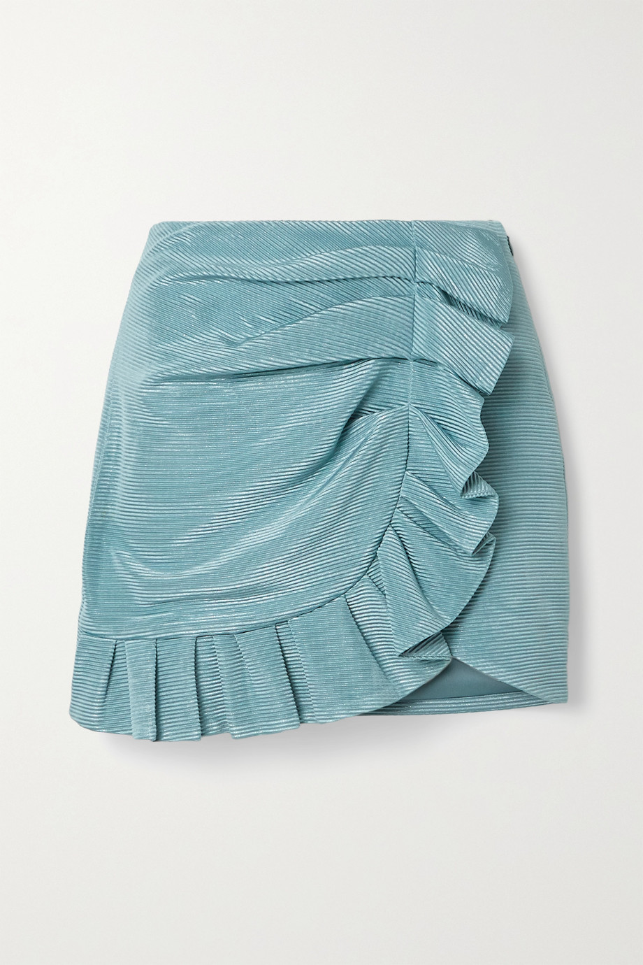 Jonathan Simkhai Azalea ruffled metallic plissé-satin mini skirt