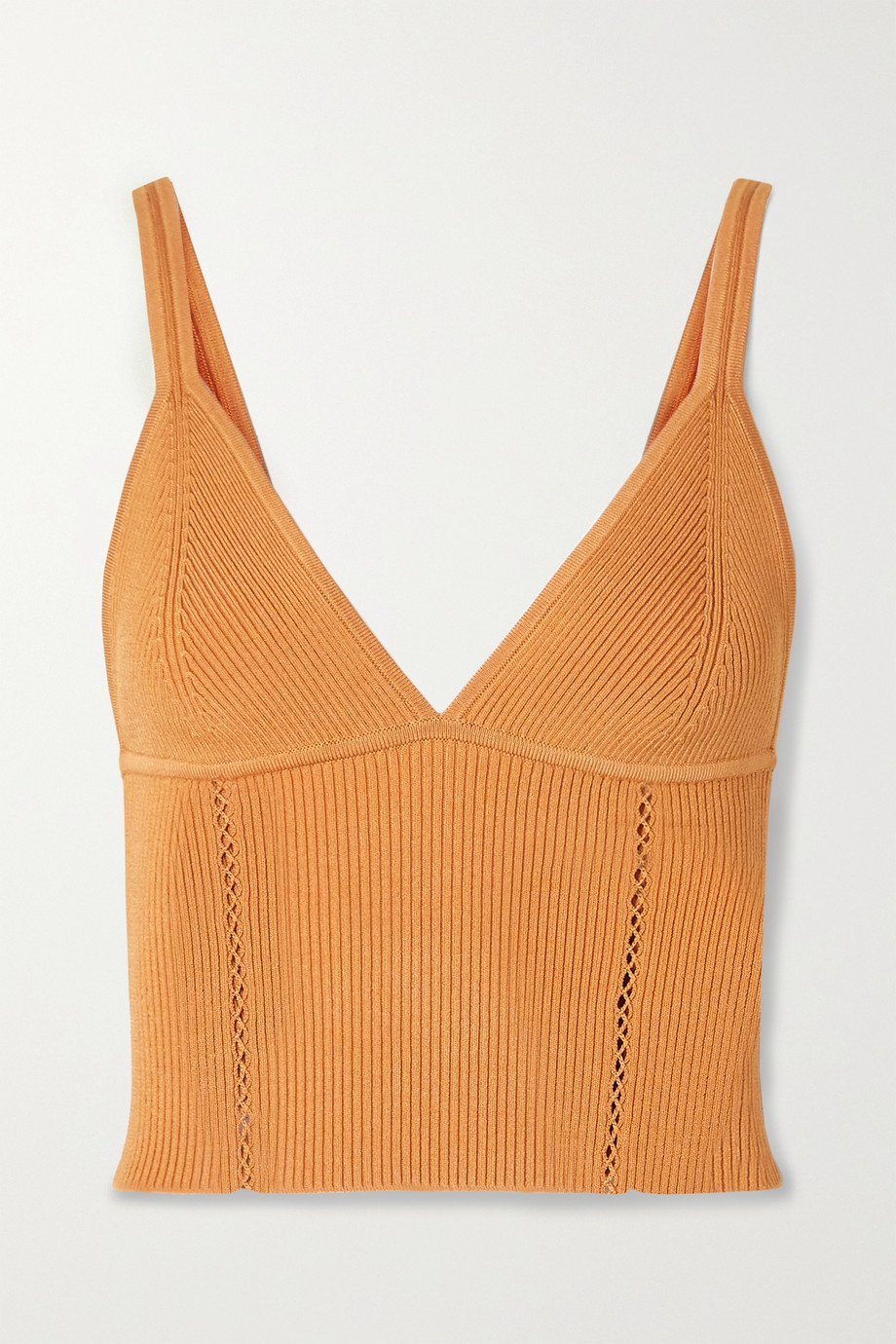 Jonathan Simkhai Lana cropped pointelle-trimmed ribbed-knit top