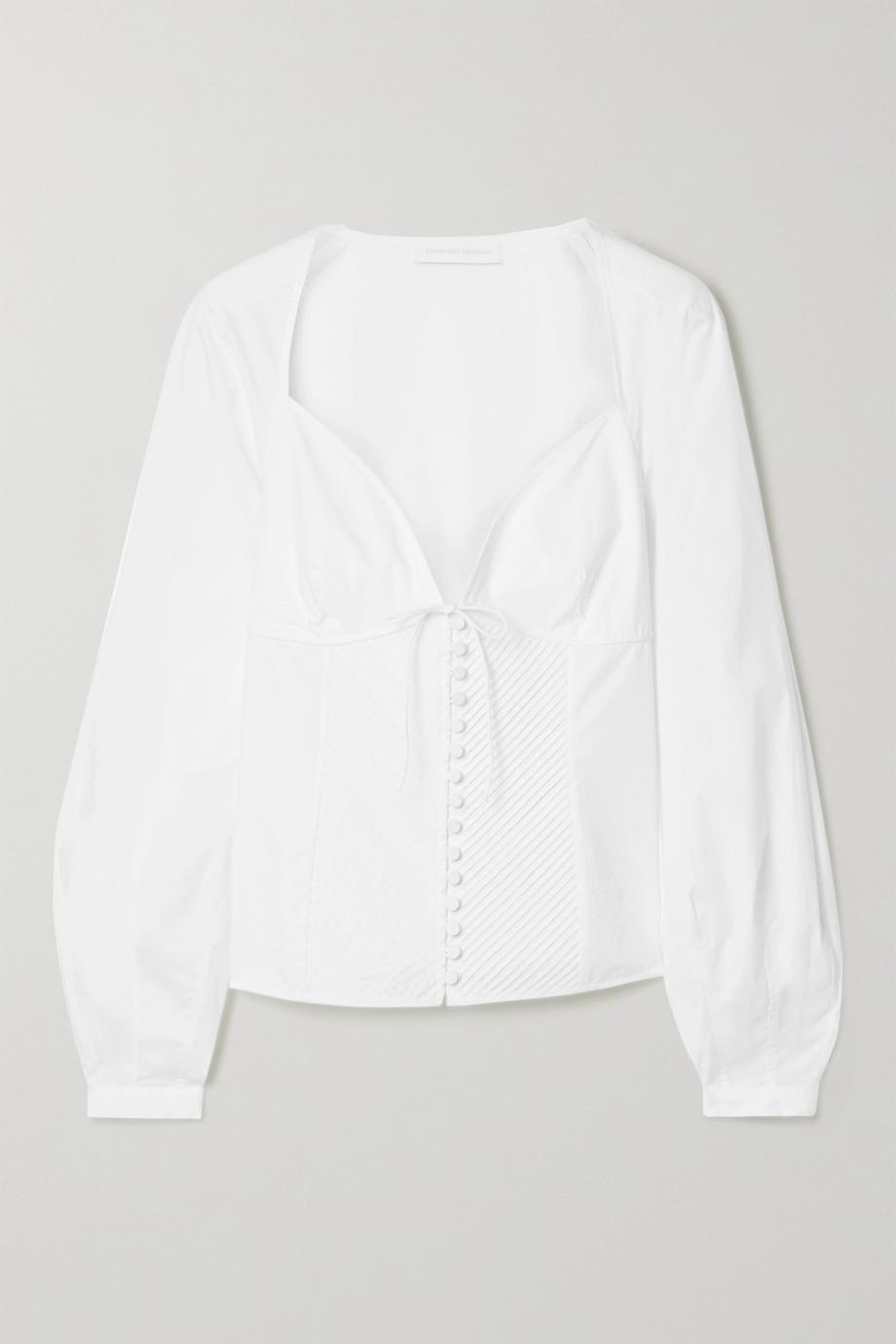 Jonathan Simkhai June pintucked cotton-blend poplin blouse