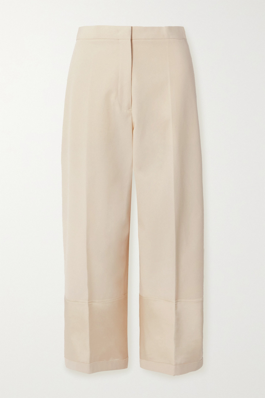 Jil Sander Pantalon large en toile de coton à finitions en satin