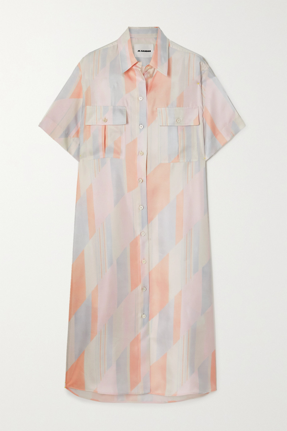 질 샌더 Jil Sander Printed silk-twill shirt dress,Ivory