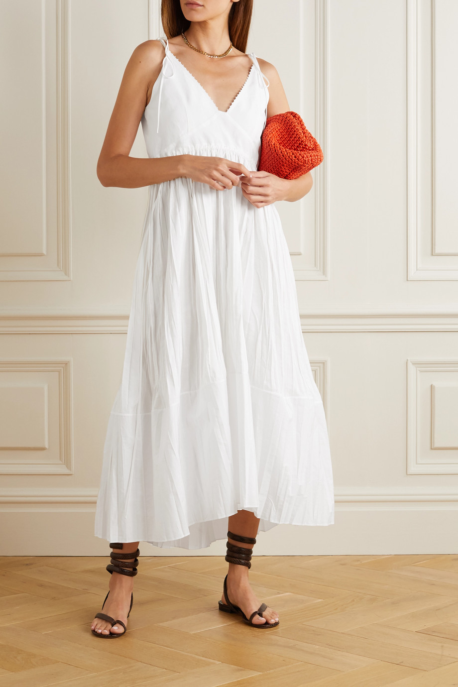Jil Sander Pleated voile midi dress