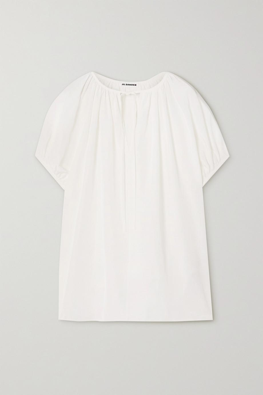 질 샌더 Jil Sander Tie-detailed voile blouse,White