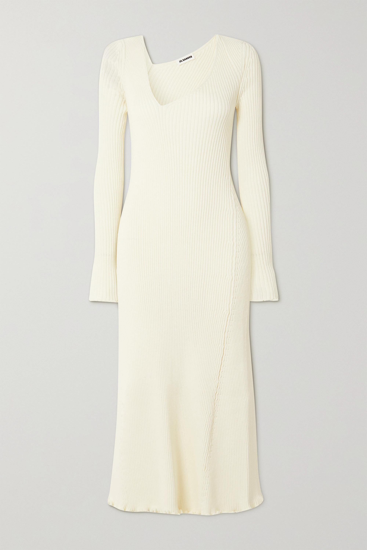 Jil Sander Asymmetric ribbed wool-blend midi dress