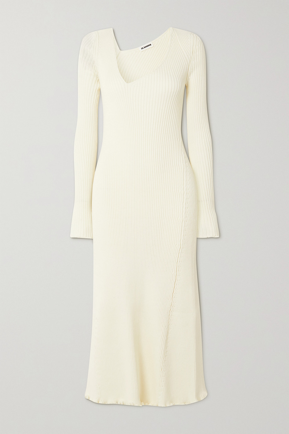 Jil Sander Asymmetric ribbed wool-blend midi dress