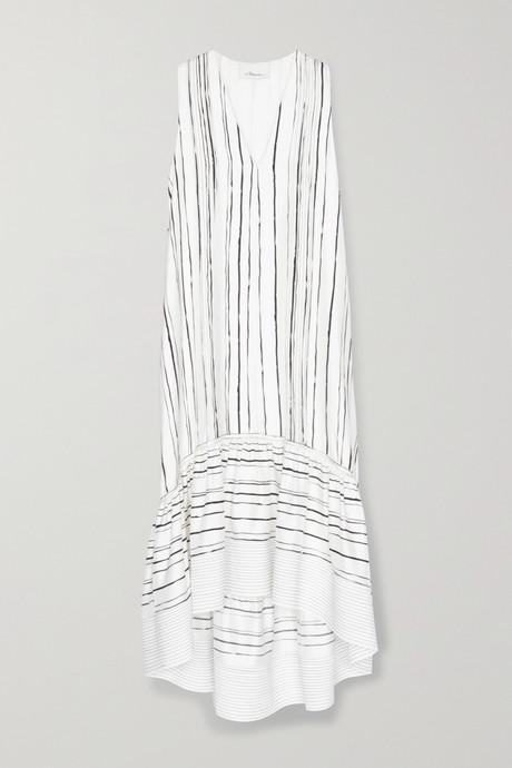 White Tiered striped silk midi dress | 3.1 Phillip Lim lpD9go