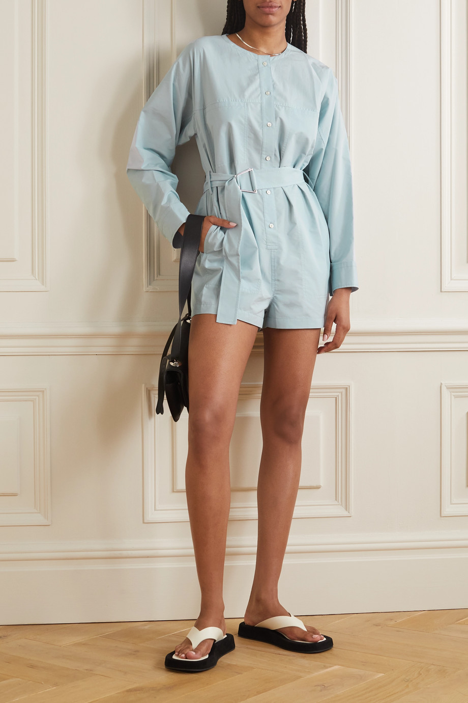 3.1 Phillip Lim Belted cotton-blend poplin playsuit