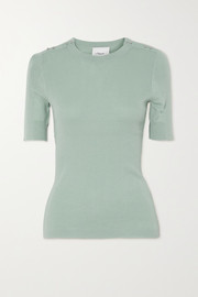 3.1 Phillip Lim Button-embellished ribbed wool and cotton-blend top