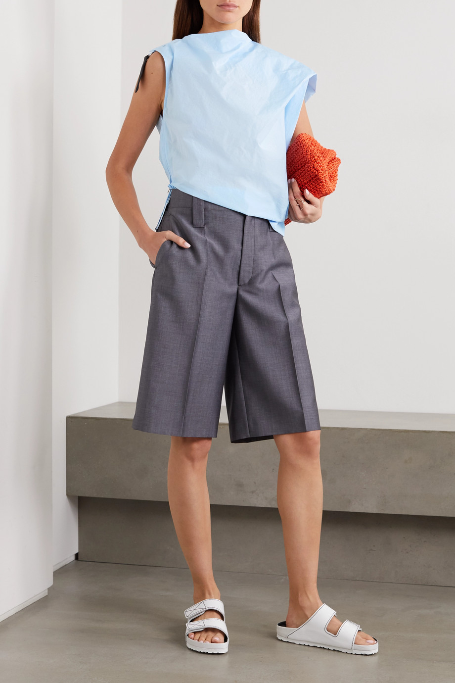 3.1 Phillip Lim Asymmetric canvas-trimmed cotton-blend poplin top