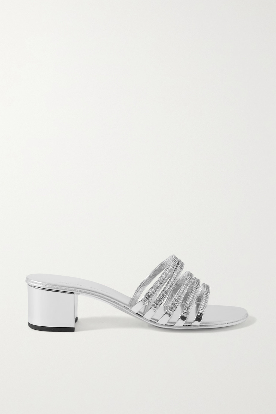 Giuseppe Zanotti Crystal-embellished metallic leather mules