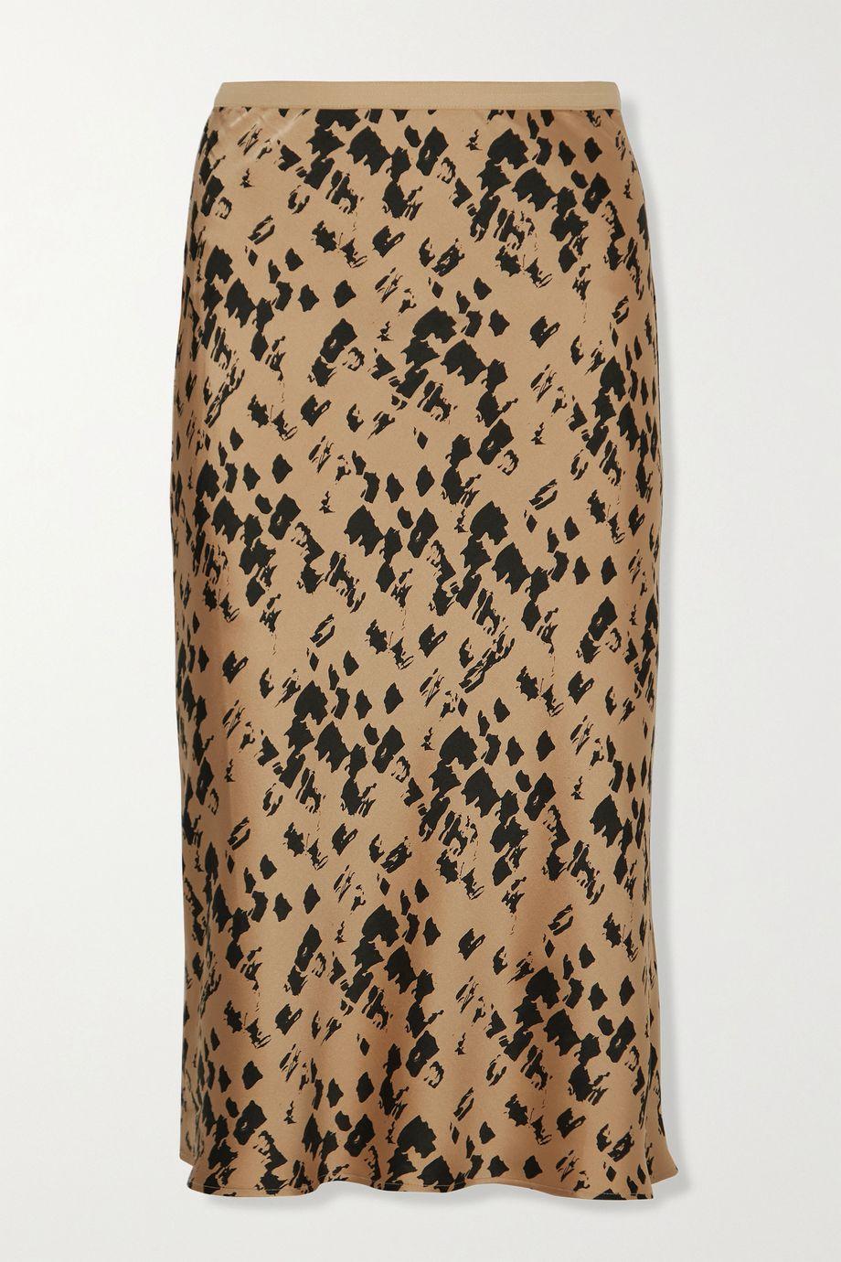 Anine Bing Bar printed silk-satin midi skirt
