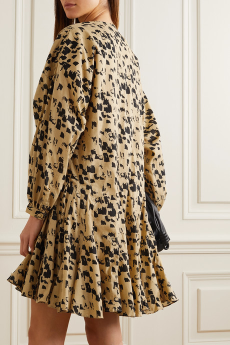 Yellow Peyton printed cotton-poplin mini dress   Anine Bing cw22ec