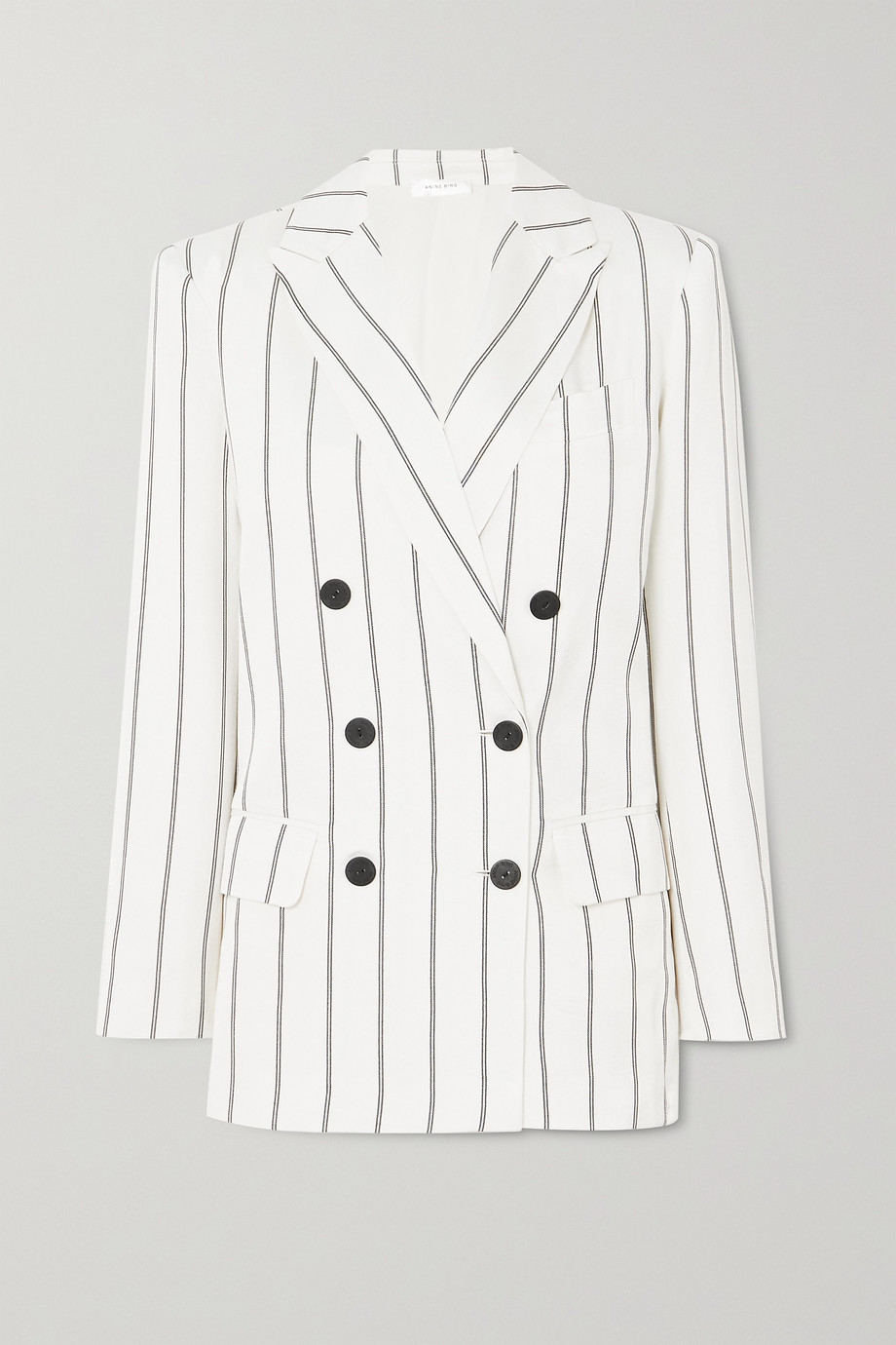 Anine Bing Ryan double-breasted striped herringbone-jacquard blazer