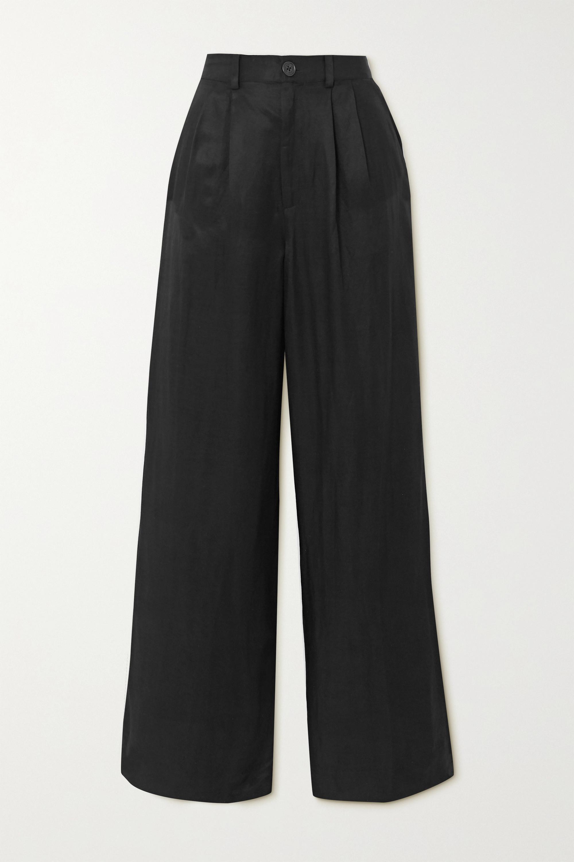 Anine Bing Carla pleated twill wide-leg pants