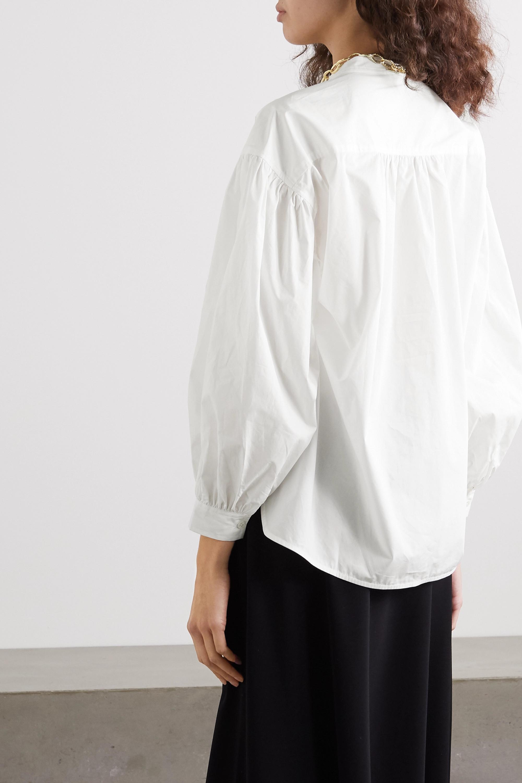 Anine Bing Eden gathered cotton-poplin blouse