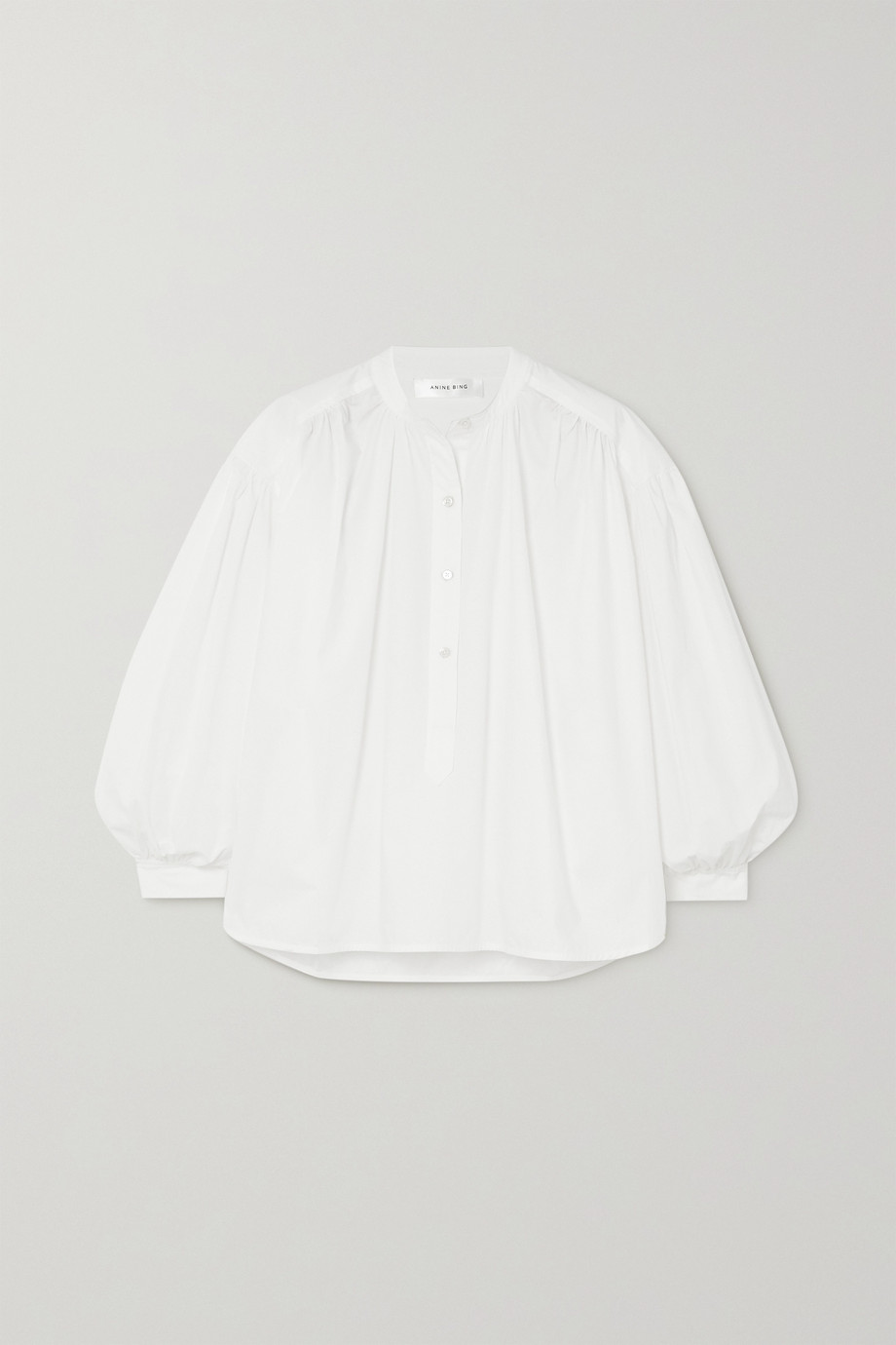 Anine Bing Eden gathered cotton-poplin blouse