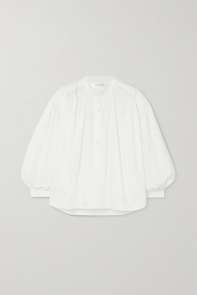 Anine Bing - Eden Gathered Cotton-poplin Blouse - White