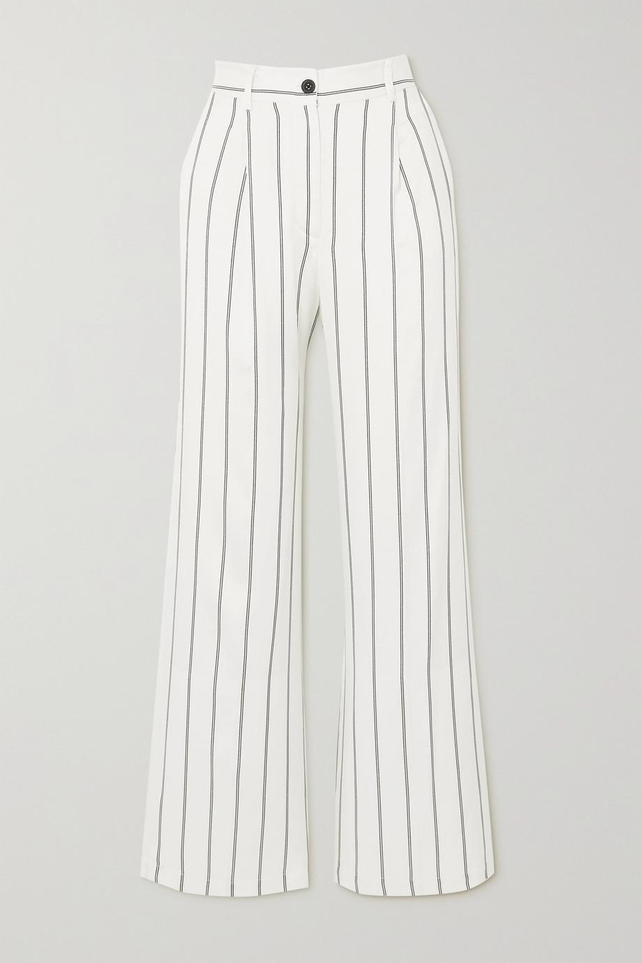 Anine Bing Ryan striped herringbone-jacquard straight-leg pants