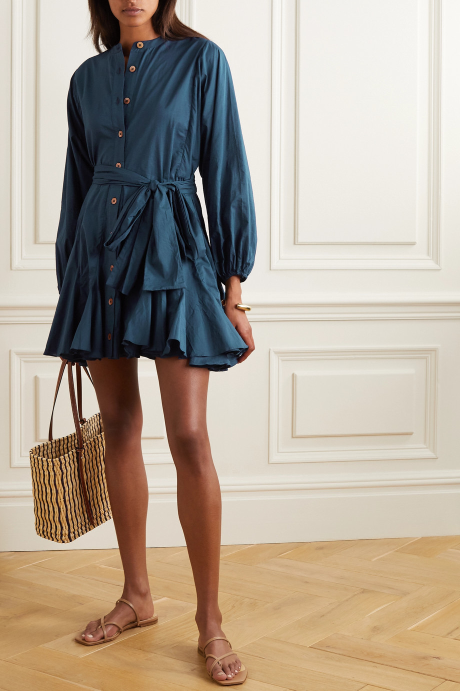 Rhode Emma belted cotton-poplin mini dress