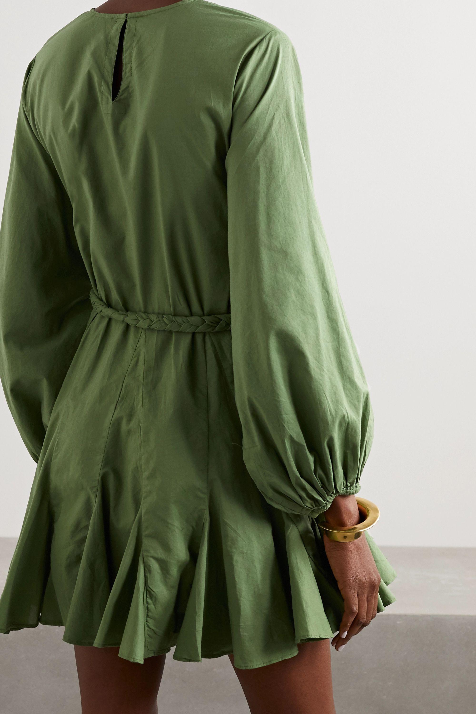 Army Green Ella Pleated Cotton Mini Dress | Rhode